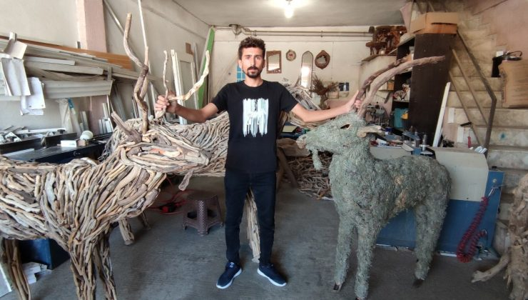 Lodosun sürüklediği dalları sanata dönüştürüyor