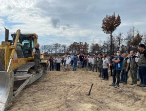 Manavgat'ta yanan 100 hektar  alanda ekim öncesi toprak işleme çalışmaları tamamlandı