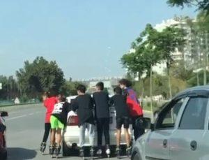Otomobile tutunan patenli 7 genç yürekleri ağza getirdi