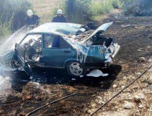 Takla atan otomobilde yangın çıktı