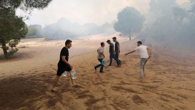 Vatandaşlar ellerinde dallar ve yerden topladıkları kumlarla yangına müdahale etti