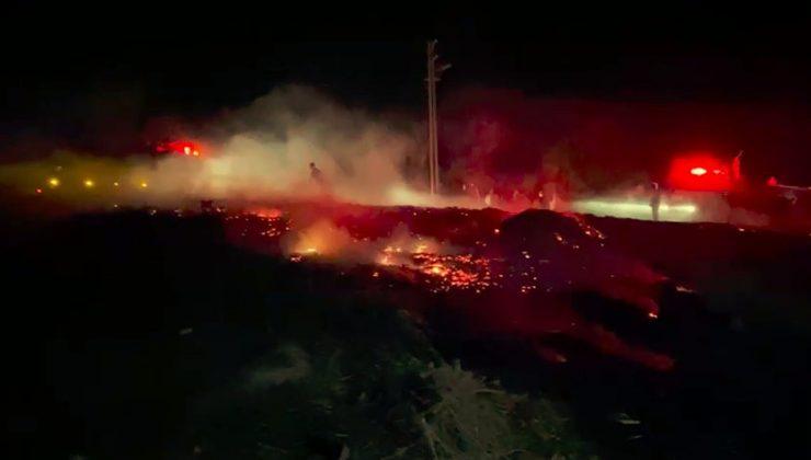 Yakılan sera atıkları araziye sıçradı, mahalleli sokağa döküldü