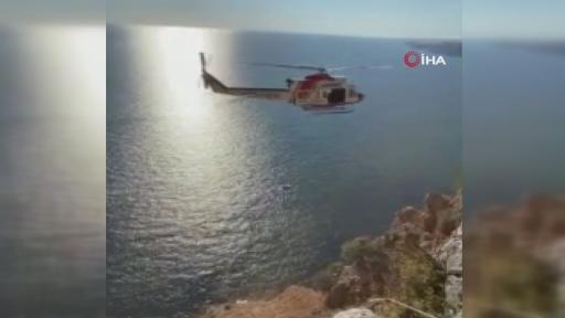 Yamaç paraşütü kayalık alana böyle düştü: Pilot yaralandı