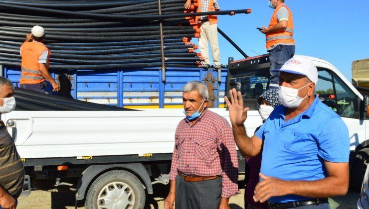 Yangınzede üreticilere 6 bin 300 adet sulama borusu desteği