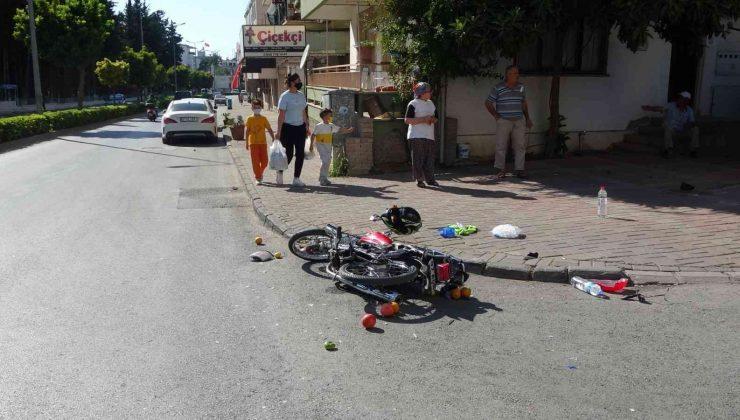 Cipin çarptığı motosiklet sürücüsü metrelerce sürüklendi