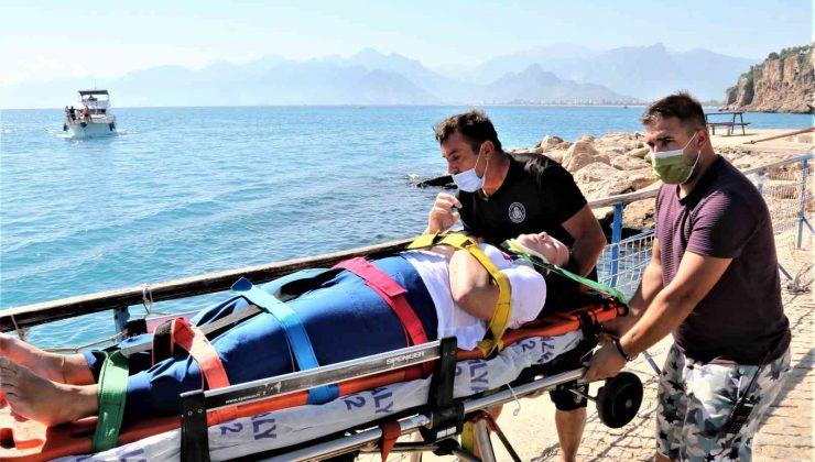 Falezlerden düşen kadın yaralandı