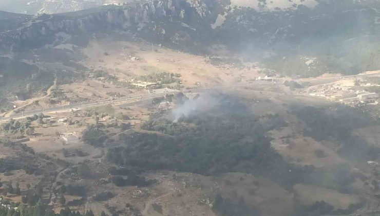 Makilik alanda çıkan yangında 10 dönüm alan zarar gördü