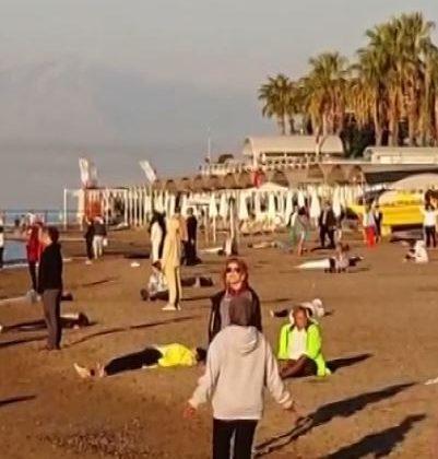 Turistlerin sabah sporundan ilginç görüntüler